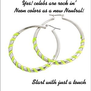 Silver Hoops w/a Touch of Neon,NWT